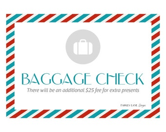 "Baggage Check Sign 8.5x11"" - Vintage Airplane Party Package"