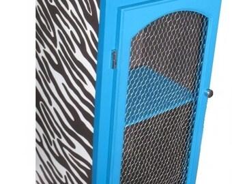 Zebra Bookshelf -- Handmade wooden shelf, turquoise lining and chocolate zebra pattern, handpainted by SophieLDesign