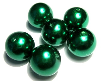 5pcs Large Green Glass Pearl Beads 16mm Round