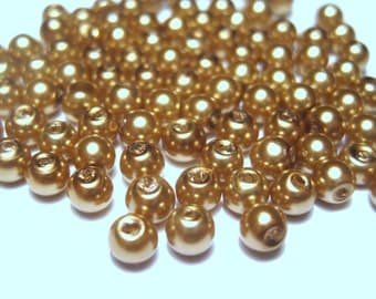 1 strand Gold Glass Pearl Beads 4mm Round G-2