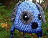 Blue Puppy Dog Crocheted Hat