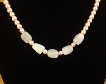 Pink Pearl Necklace with Quartz