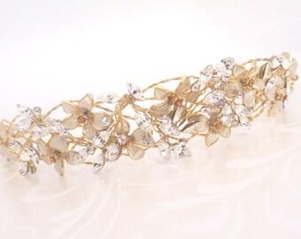 Gold Bridal headpiece, Gold Bridal tiara, Bridal hair vine, Gold wedding headband, Bridal headband, Wedding head piece, Wedding hair piece