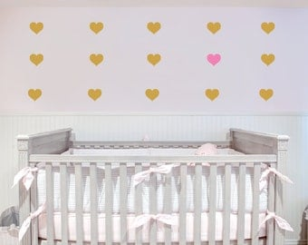 SHIPS NEXT BUSINESS Day, Vinyl Wall Decal, Metallic Gold Hearts,  Repeating Pattern, Art Sticker