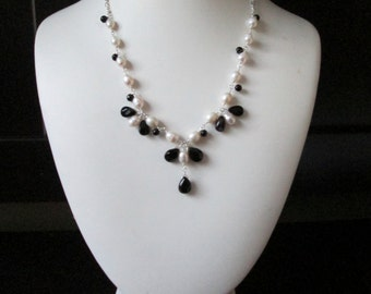 Sterling Silver, onyx, crystals and freshwater white pearl necklace with drop