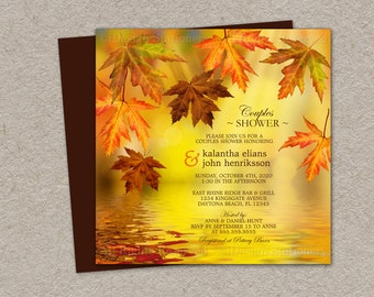 Fall Couples Shower Invitation, Printable Falling Leaves Wedding Shower Invitation, Fall Leaves Wedding Shower Invitation, Fall Wedding