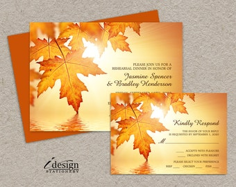 Fall Rehearsal Dinner Invitations With RSVP Cards, DIY Printable Wedding Rehearsal Invitation With Orange Autumn Leaves