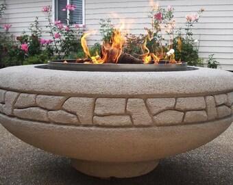 Concrete Firepit (Firepot) Hand-Carved by Joe Rivera & Cristi Mason-Rivera
