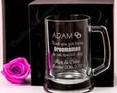 Engraved 500ml Beer Mug Gift Boxed Box Glass Wedding Personalised Groomsman Favor Best Man Present