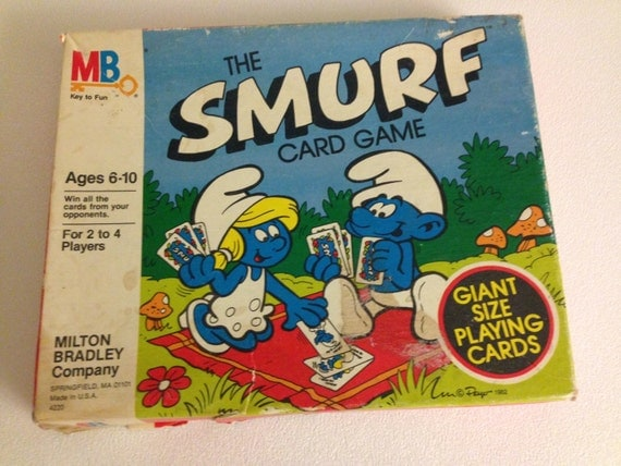 80 S Milton Bradley Toys : Vintage smurf card game s board milton bradley