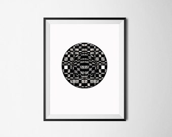 Black and White Art Print/ Home Decor Wall Art/ Ink Drawing/ Contemporary Art/ Office Wall Decor/ Modern Art/ Geometric Print/ Ink Drawing