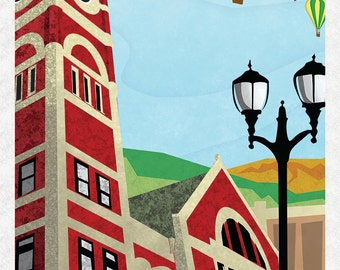 Monroe Wisconsin Art Deco Travel Poster styled art print by Adam Bansley