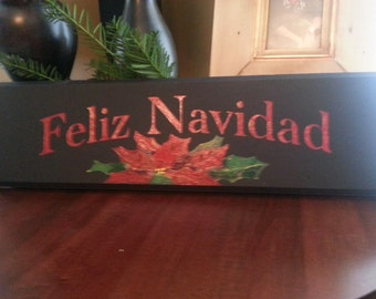 Feliz Navidad Sign, hand painted on upcycled wood