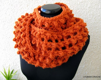 Chunky Crochet Infiniy Scarf - Orange Scarf - Circle Scarf - Autumn Scarf - Gift For Her - Unique Crochet Handmade Scarf - Ready to Ship