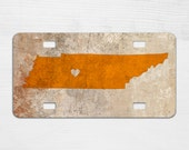 Tennessee Rustic License Plate - Personalized Car License Plate - Car Accessories - Christmas Gift - Car Tag - Sweet 16 Gift - TN Orange