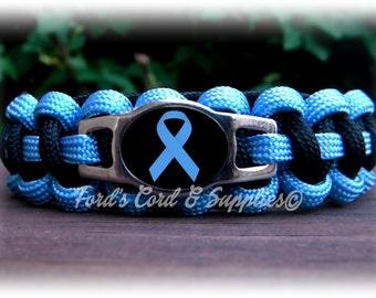 Light Blue Awareness Bracelet, Paracord Bracelet, Prostate Cancer, Addison's Disease, Edwards Syndrome, Scleroderma, Graves Disease, Behcets