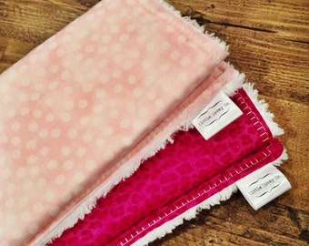 Fashionable Baby Burp Cloth in Cotton and Chenille: Pink Duo