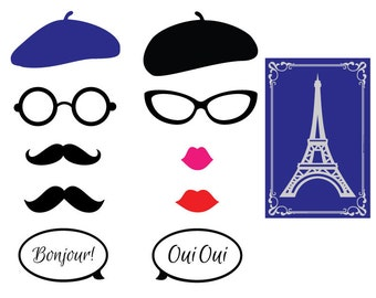 Parisian Theme Photo Booth Props-French Themed Party Photo Props-Paris Themed Party- French Themed Baby Shower- Parisian Theme