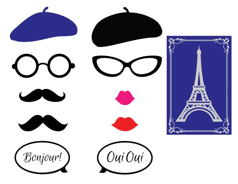 Bien-aimé Parisian Theme Photo Booth Props-French Themed Party Photo PM11