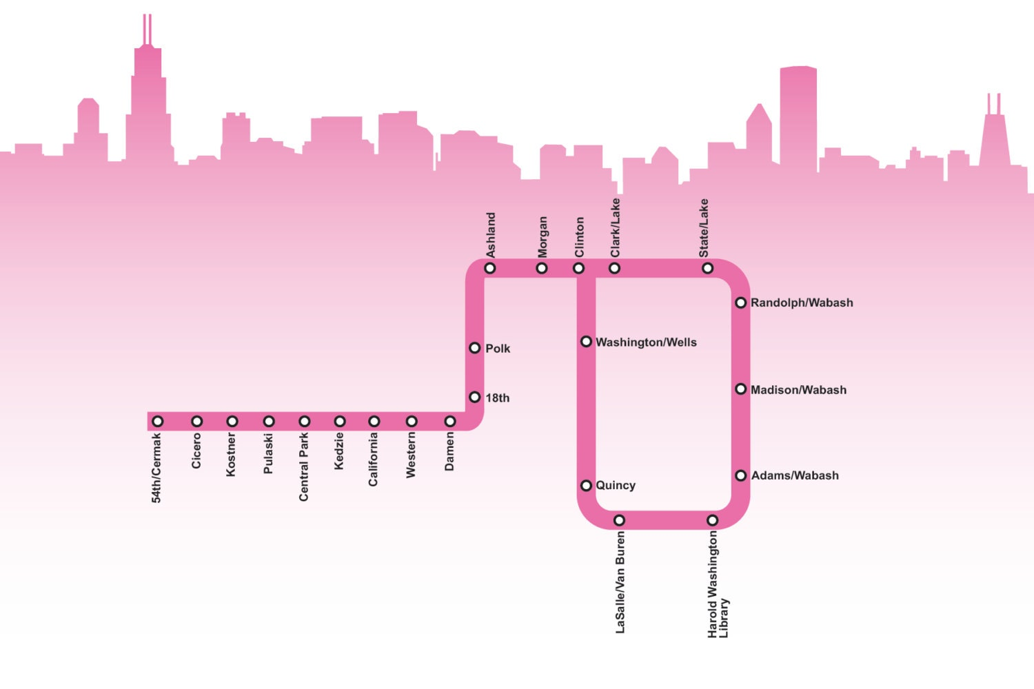 Chicago Pink Line Map - Chicago map etsy