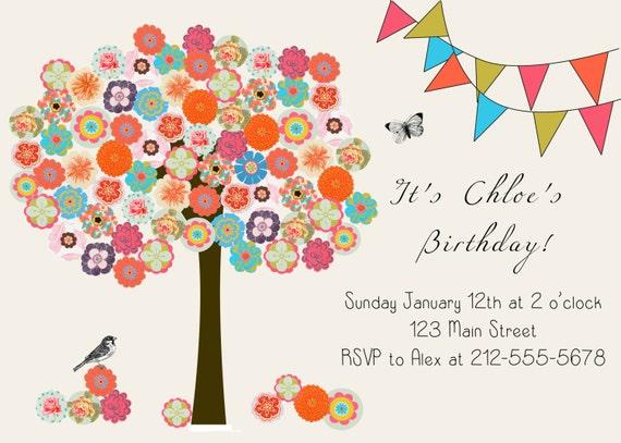 Digital Tree Invitation.  Birthday, Baby Shower, House Warming Invitation