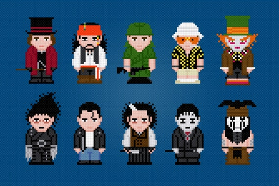 Johnny Depp - Movie Characters - Digital PDF Cross Stitch Pattern
