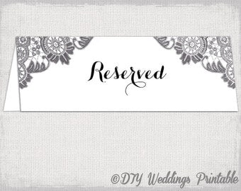 Reserved table tent etsy for Reserved seating signs template