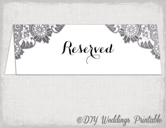 Reserved card template Antique Lace printable