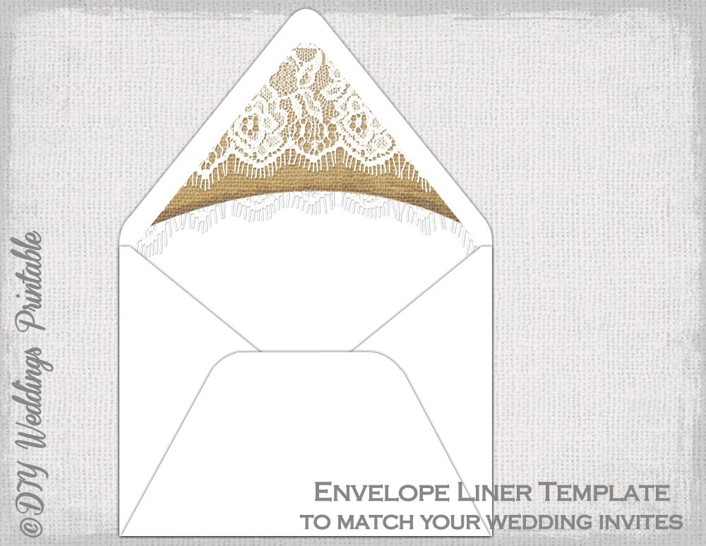 Rustic Wedding envelope liner template Burlap &