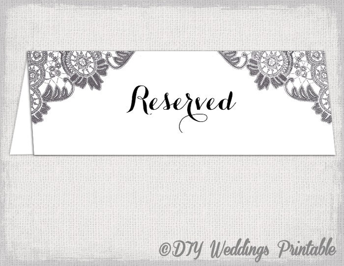 reserved card template antique lace printable. Black Bedroom Furniture Sets. Home Design Ideas
