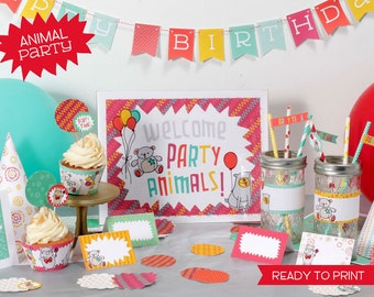Printable Party Animals Birthday set - digital pdf file