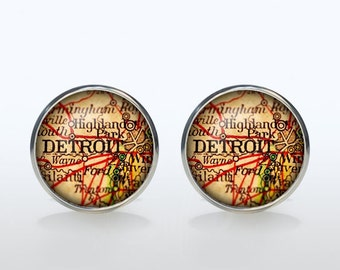 Detroit map Cufflinks Silver plated Detroit vintage map Cuff links men and women Accessories Antique black brown red green