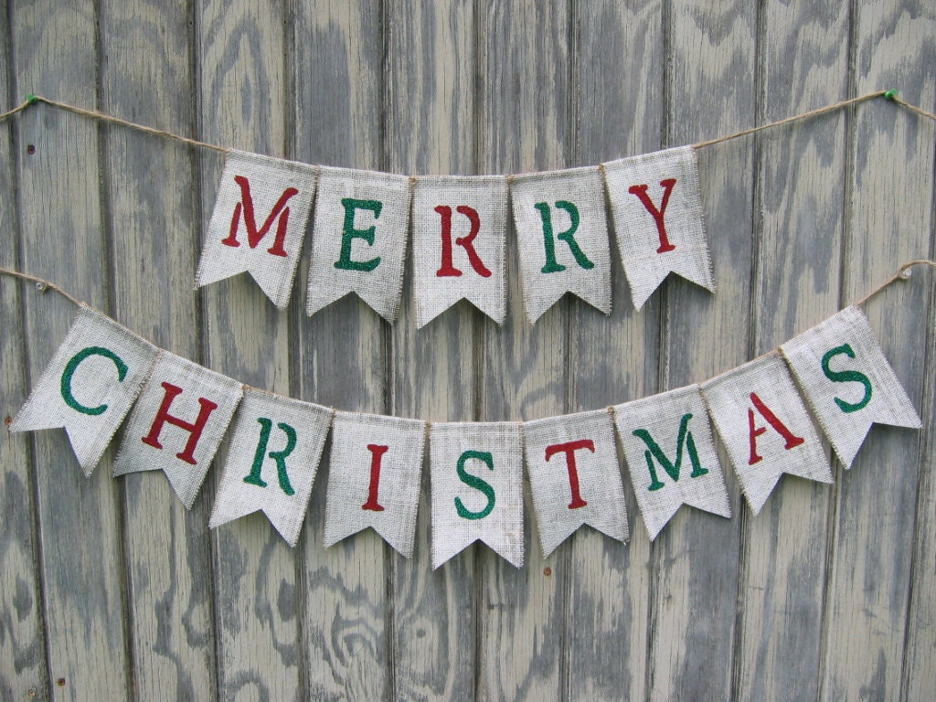 Merry Christmas Burlap Banner And Happy New Year 2018