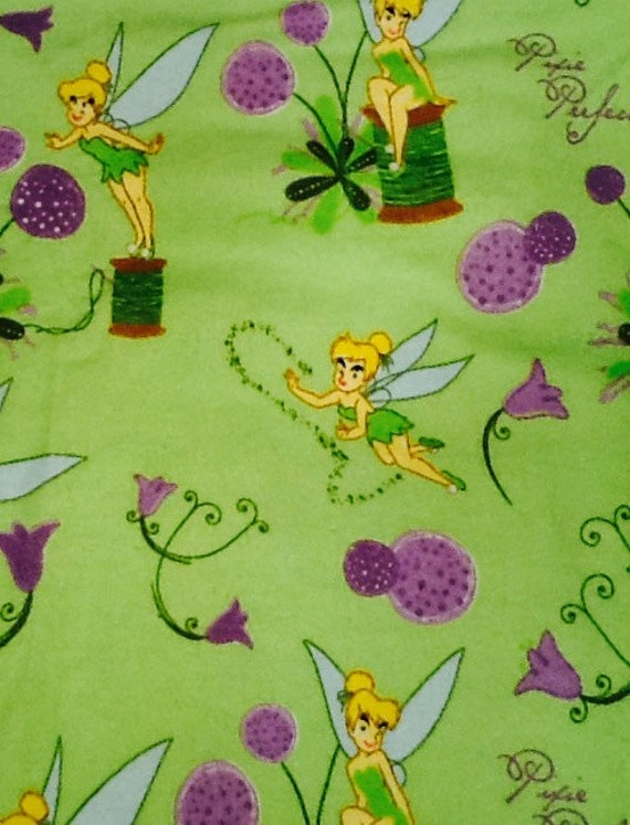 Crib/Toddler Bed Flannel Fitted Sheet  - Lime Green background with Tinkerbell