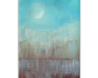 "Abstract Cityscape Painting Acrylic Painting Urban Small Painting On Canvas Water Reflection 11.8x7.9"" by PuzzledbyArtmondo"