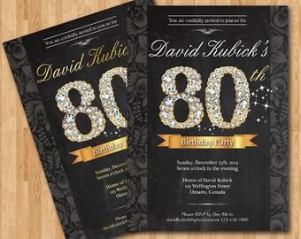 80th Birthday Invitation. Black and gold diamond number birthday bash invite. Chalkboard background. Custom any color wording. DIY