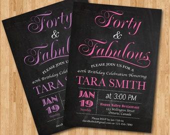 40th birthday invitation for women. Pink, Purple, Blue, Any color. Elegant Chalkboard. 30th 50th 60th any age. Printable digital DIY