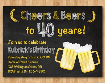 30th birthday invitation beer party invitations chalkboard 40th birthday invitation beer party invitations chalkboard 30th 40th 50th 60th for men stopboris Images