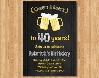 40th birthday invitation for Men. Cheers & Beers invitation. Surprise Birthday. Chalkboard. Big 40. Surprise Birthday. Printable Digital