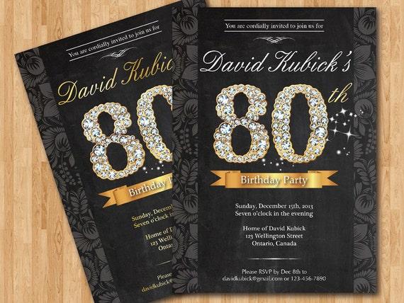 80th birthday invitation  black and gold diamond number