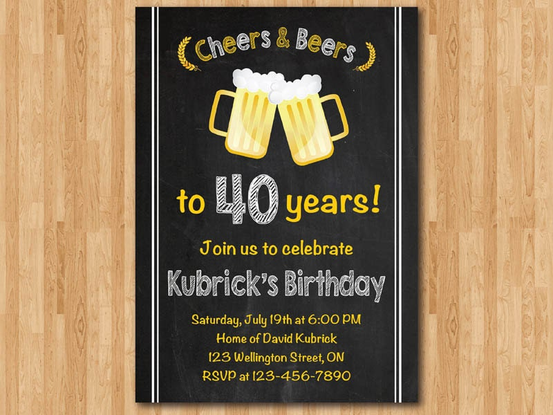 40th birthday invitation for men cheers u0026