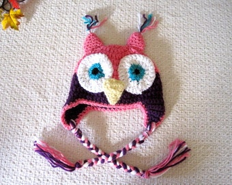 Baby Animal Hat, Owl Hat, Child Hat, Crochet Earflap hat