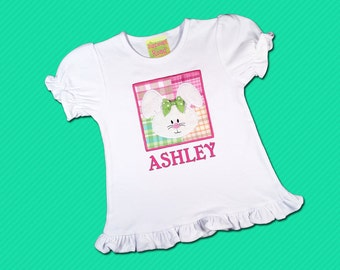 Girl's Easter Shirt with Bunny Box on Frill Shirt and Embroidered Name - M17