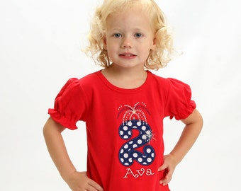 Girls 4th of July Fireworks Shirt with Embroidered Name