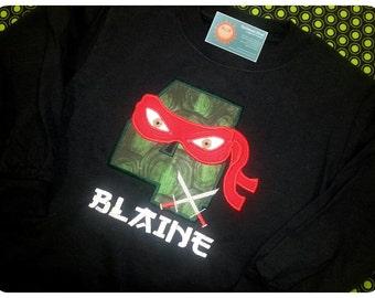 Boy's Ninja Birthday Shirt with Number, Ninja Mask, Weapon and Name