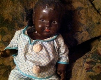 Super sweet composite black baby doll -- 1940's?