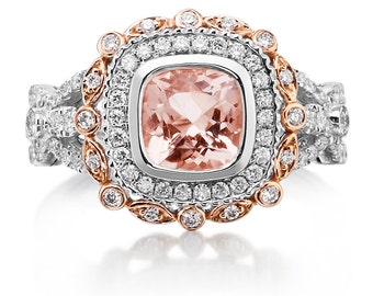 Morganite Engagement Ring 7mm Cushion Cut  18k White & Rose 2 Tone Gold Diamond Halo Vintage Wedding Ring Fashion Ring Pristine Custom Rings