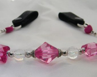 """Beaded Horse Browband - TUTTI"""" - Pink Shades / Crystal / Silver Beads"""