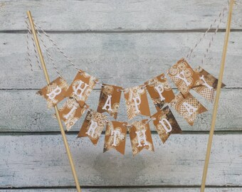 "Cake Bunting, ""Shabby Gold"", Happy Birthday, Cake Topper,"