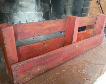 Red Painted Wood Pallet Shelf